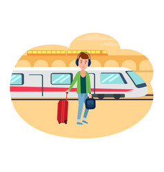 young refugee guy with baggage at railway station vector image