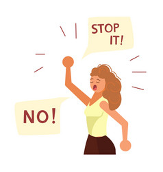 young woman with fist raised in the air say no vector image