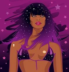 black African disco woman with curly hair vector image vector image