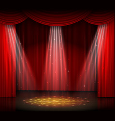 empty stage with red curtain and spotlight on wood vector image vector image