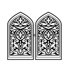 arabic window black silhouette vector image