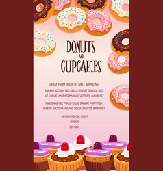 cupcake and donut pastry dessert banner design vector image