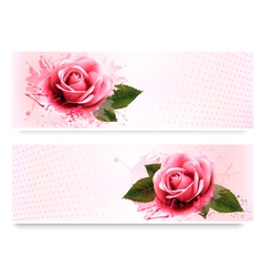 Holiday banners with pink beautiful roses vector image vector image