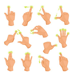 screen mobile gadget motion fingers gestures tap vector image
