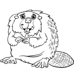 beaver animal cartoon coloring page vector image