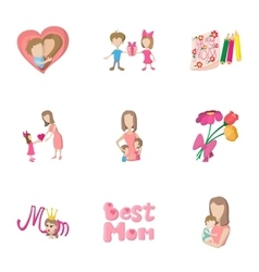 Love of mother icons set cartoon style vector image vector image