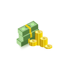 stack of green dollar paper banknotes in packs of vector image