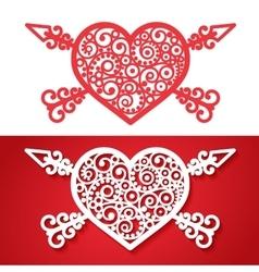 vintage heart with cross arrows vector image vector image
