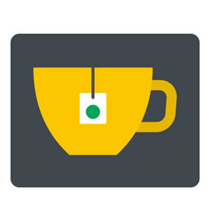 yellow tea cup with teabag icon isolated vector image vector image