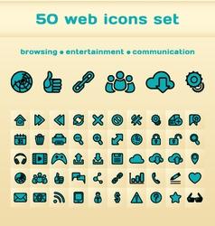 50 blue web icons set vector image