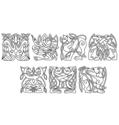 Abstract celtic animals and birds patterns vector image vector image