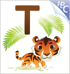 Animal alphabet for the kids T for the Tiger vector image vector image