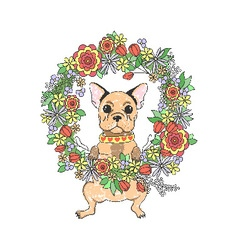 French bulldog with flowers vector image vector image
