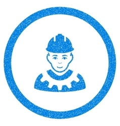 Industrial builder rounded icon rubber stamp vector