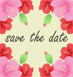 Save the date card with flowers vector image