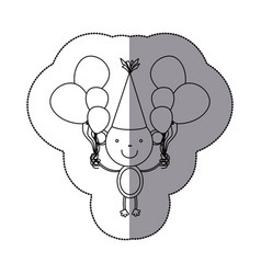 sticker silhouette monkey animal with hat party vector image