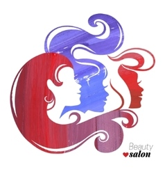 Watercolor beautiful girl silhouettes vector image vector image