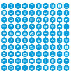 100 keys icons set blue vector