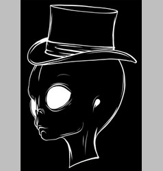 Alien head in black background vector