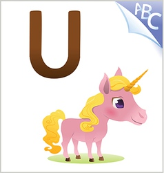 Animal alphabet for the kids u for the unicorn vector