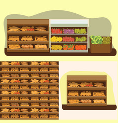 bakery shelf with bread in supermarket big choice vector image