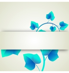 Banner blue leaves curls vector