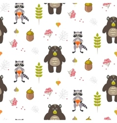 Bear and raccoon autumn white seamless pattern vector
