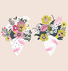 Beautiful flowers bouquets vector