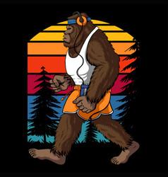 bigfoot running retro vector image