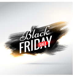 black friday sale banner with black paint brush vector image