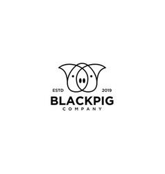 Black pig logo line outline monoline art icon vector