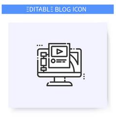 Blogging platform line icon editable vector