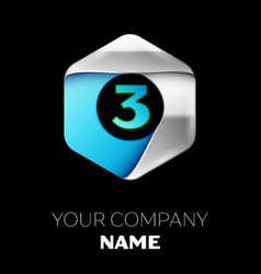 blue number three logo in the silver-blue hexagona vector image