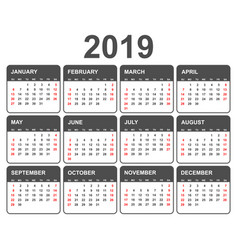 calendar 2019 year in simple style calendar vector image