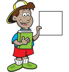 Cartoon Boy Holding a Sign vector image