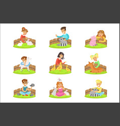 Children petting small animals in petting zoo vector