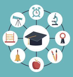 color background with circular frame of graduation vector image