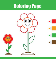 Coloring page educational children game flower vector