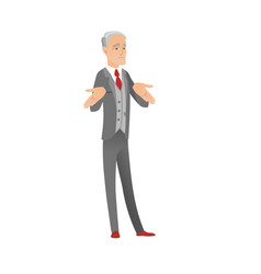 Confused caucasian businessman shrugging shoulders vector
