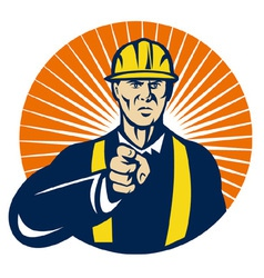 Construction worker hardhat pointing vector