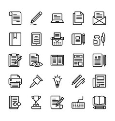 copywriting line icons pack vector image