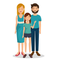 Couple of young parents with daughter vector