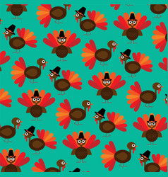 Cute thanksgiving turkey pattern vector