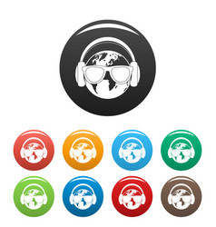 earth headphones icons set color vector image