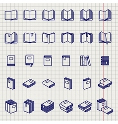 education icons books on notebook page vector image