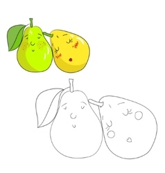 Educational game coloring book pear fruit vector