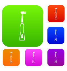 Electric toothbrush set collection vector
