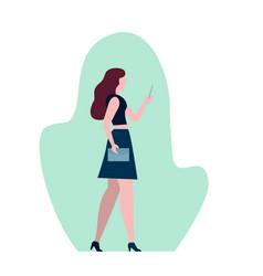 elegant woman with dark long hair using phone vector image