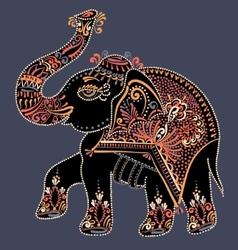 Folk art indian elephant dot painting vector