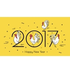 for new year 2017 with a rooster vector image